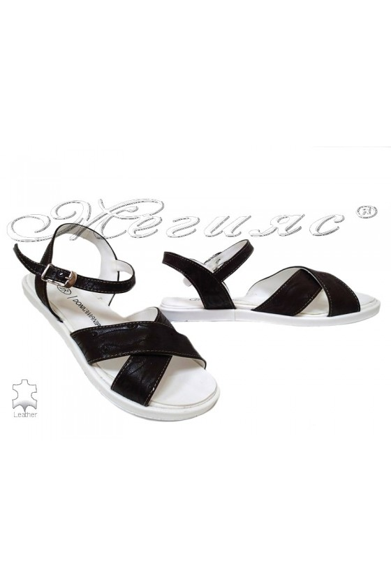 Дамски сандали 043 тъмно кафяви от естествена кожа равни
