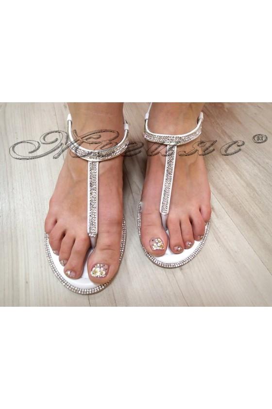 Дамски сандали LINDA 2016-352 бели с камъни равни