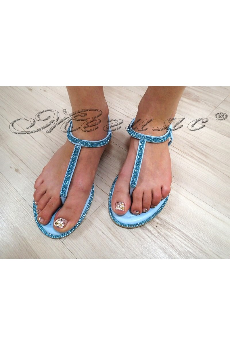 Дамски сандали LINDA 2016-352 сини с камъни равни