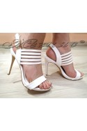Дамски сандали WENDY 2016-25 бели лак с висок ток елегантни
