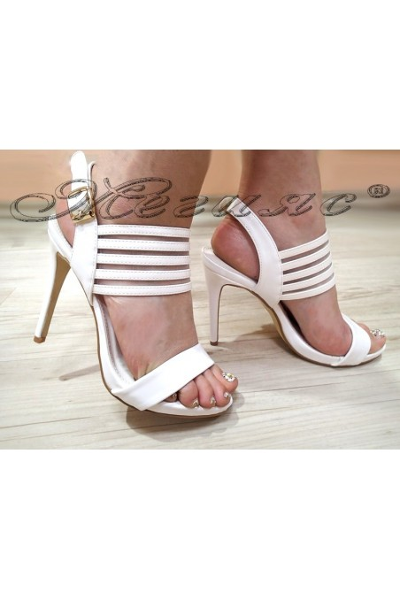 Women sandals WENDY 20S16-25 white patent with high heel