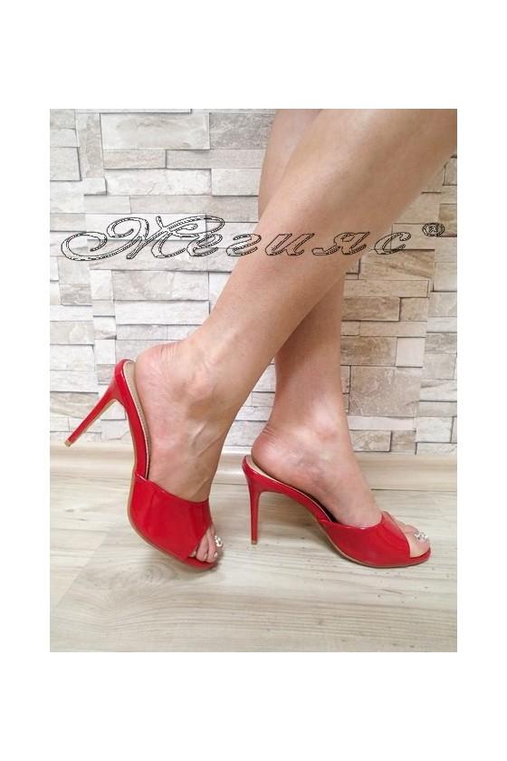 Дамски чехли WENDY 20S16-57 червени лак елегантни с висок ток
