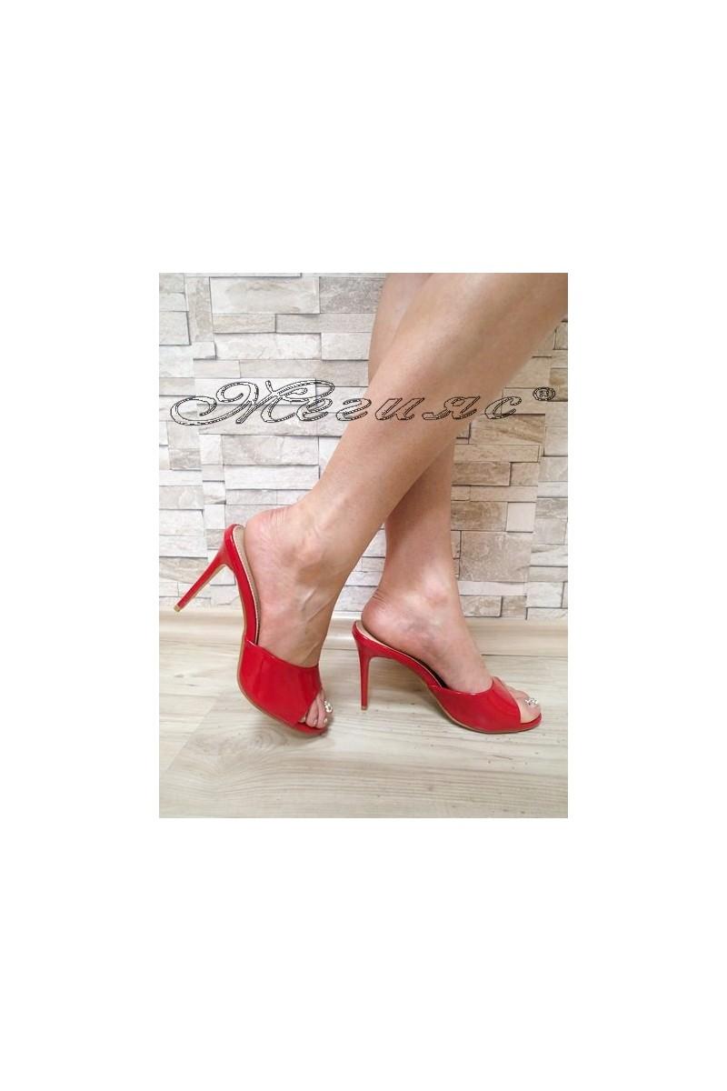 Дамски чехли WENDY 2016-57 червени лак елегантни с висок ток