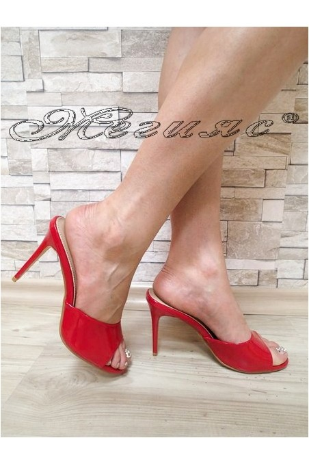 Lady sandals WENDY 2016-57 red patent with high heel