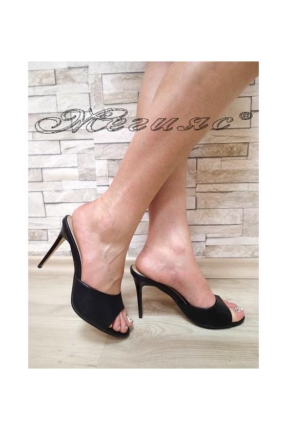 Дамски чехли WENDY 20S16-59 черни мат елегантни с висок ток