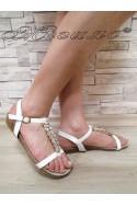 Дамски сандали MASS 2016-124 бели с камъни от еко кожа