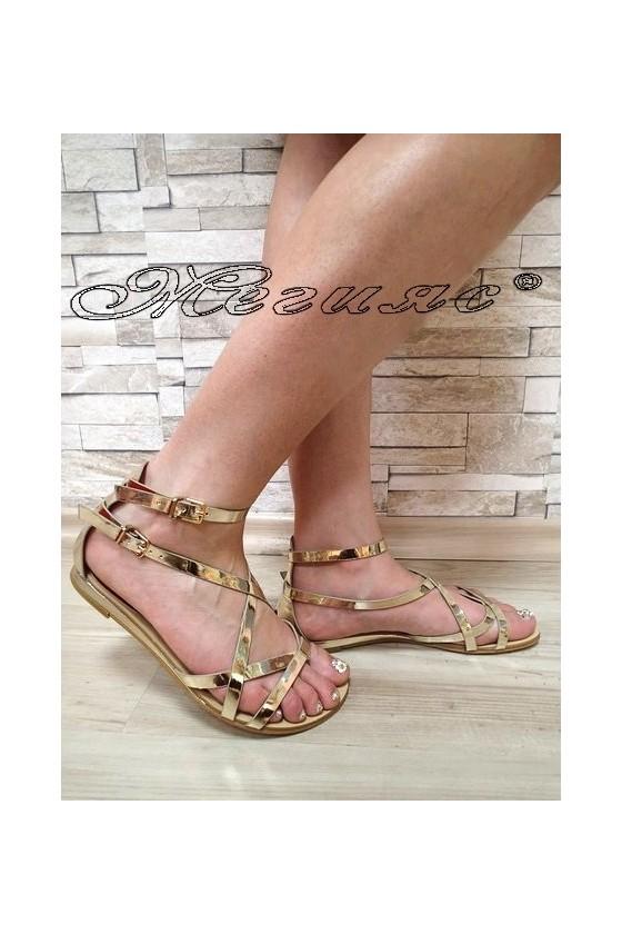 Дамски сандали Jess 20S16-256 златисти равни от еко кожа