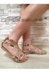 Дамски сандали Jess 2016-256 златисти равни от еко кожа