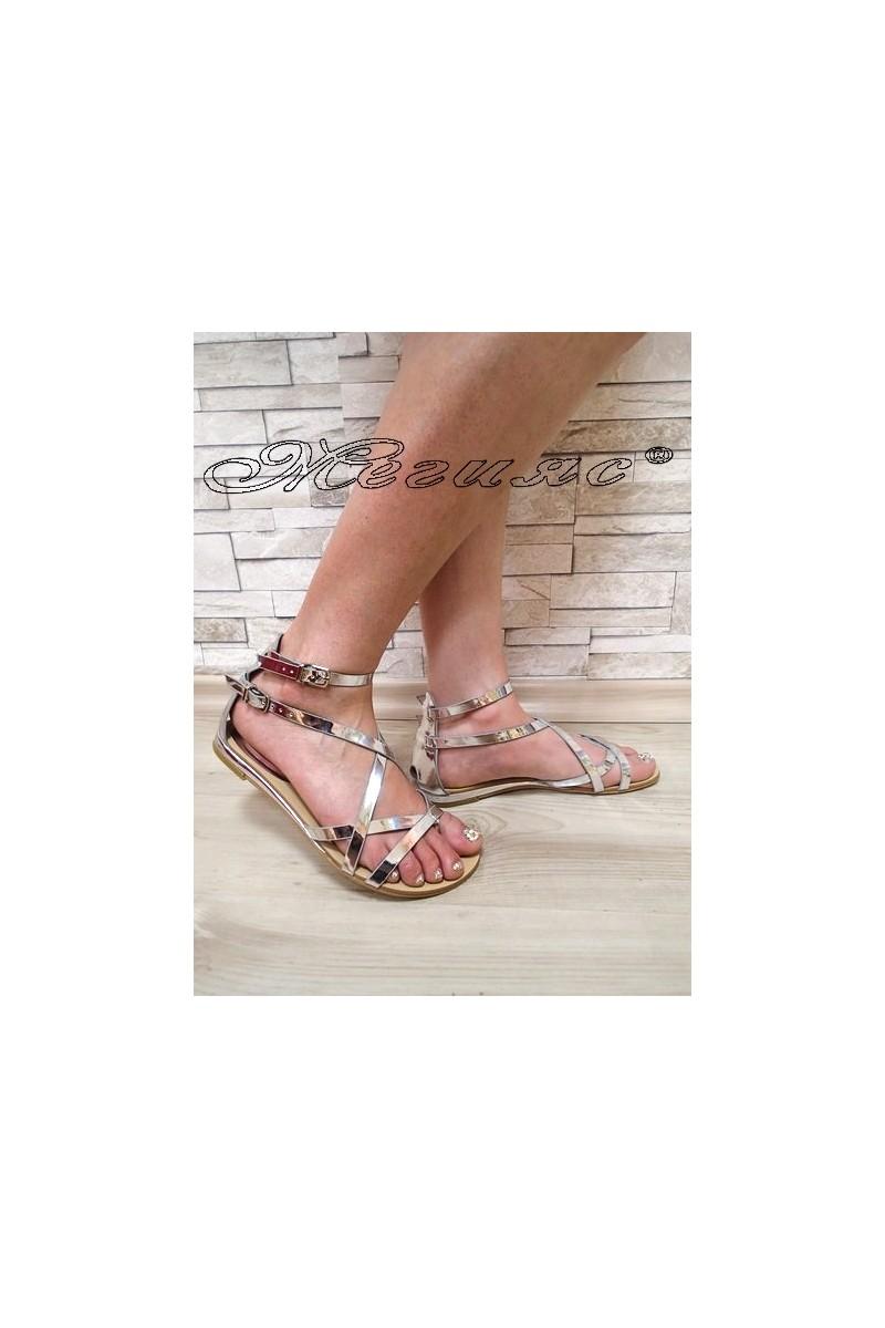 Дамски сандали Jess 2016-256 сребристи равни от еко кожа