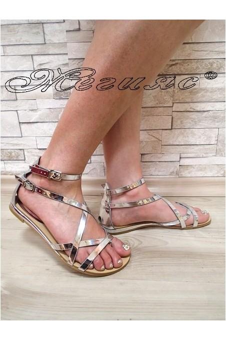 Дамски сандали Jess 20S16-256 сребристи равни от еко кожа