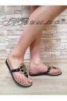 Дамски чехли S-111 черни от еко кожа равни