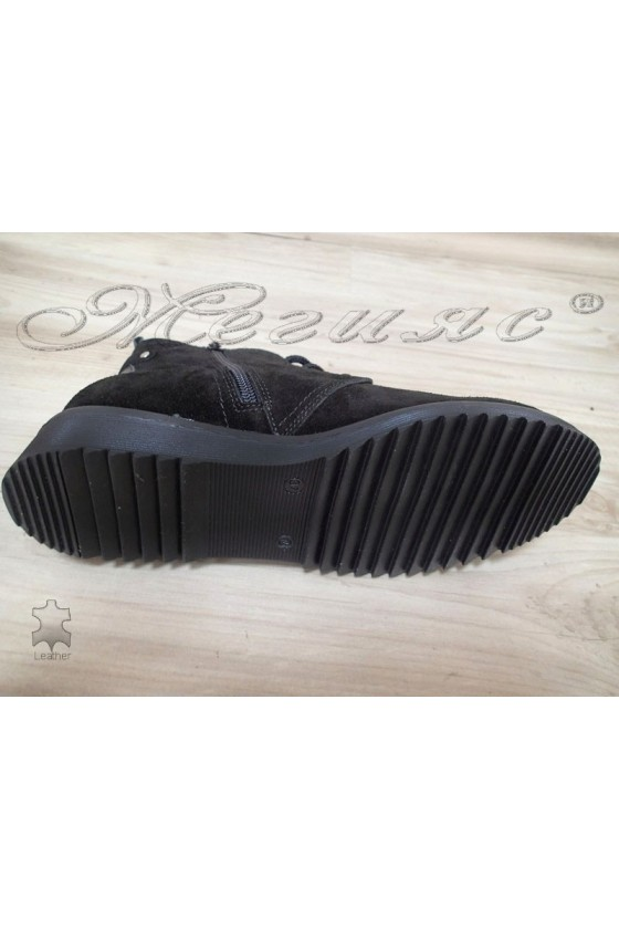 Lady boots 2022 black leather suede