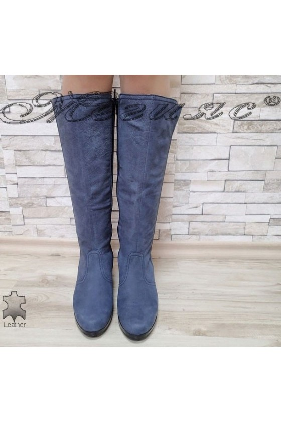 Lady boots 1440102 blue leather  suede