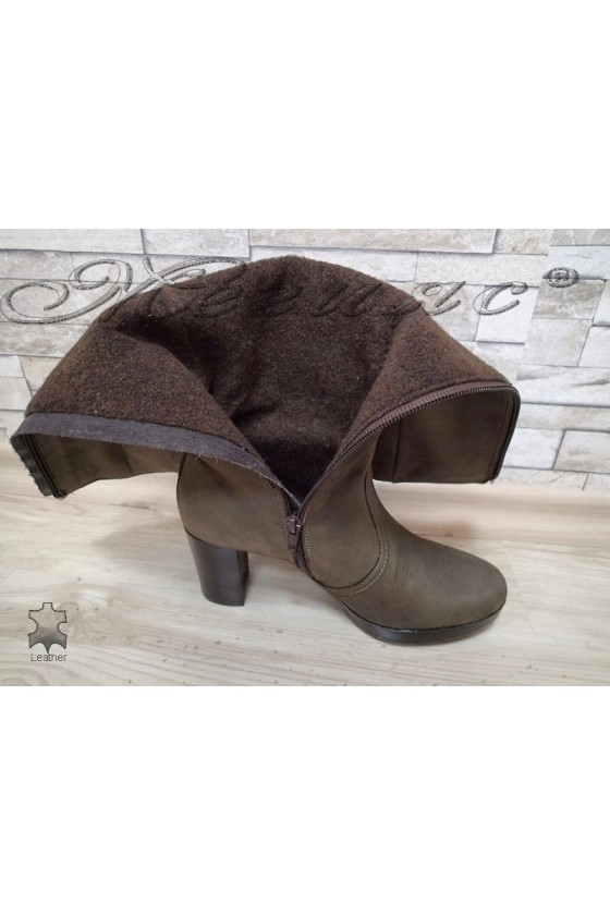 Lady boots 1440102 grey  leather  suede