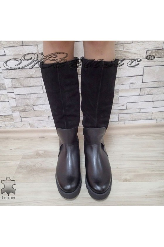 Дамски ботуши 16404 черни от естествена кожа+велур
