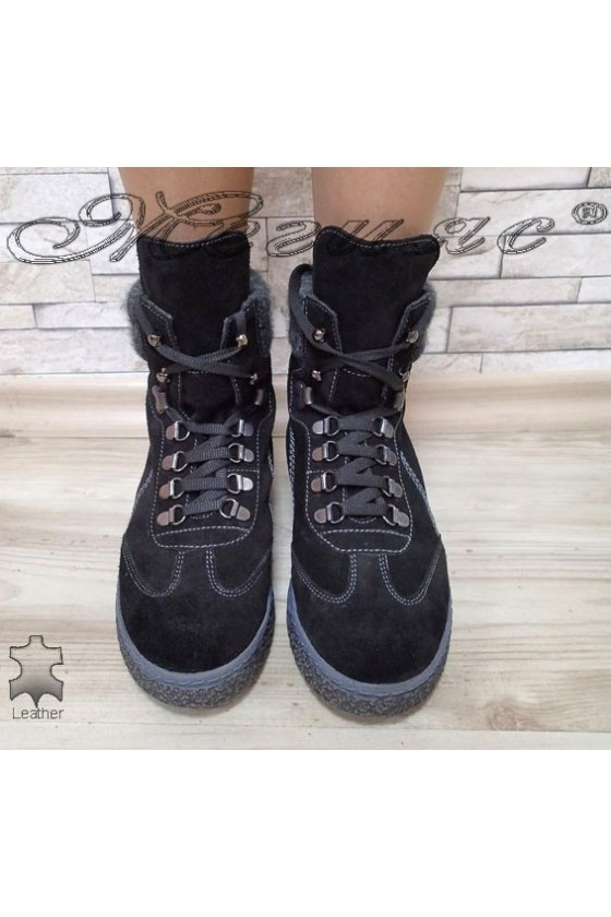 Women boots 13311 black suede leather