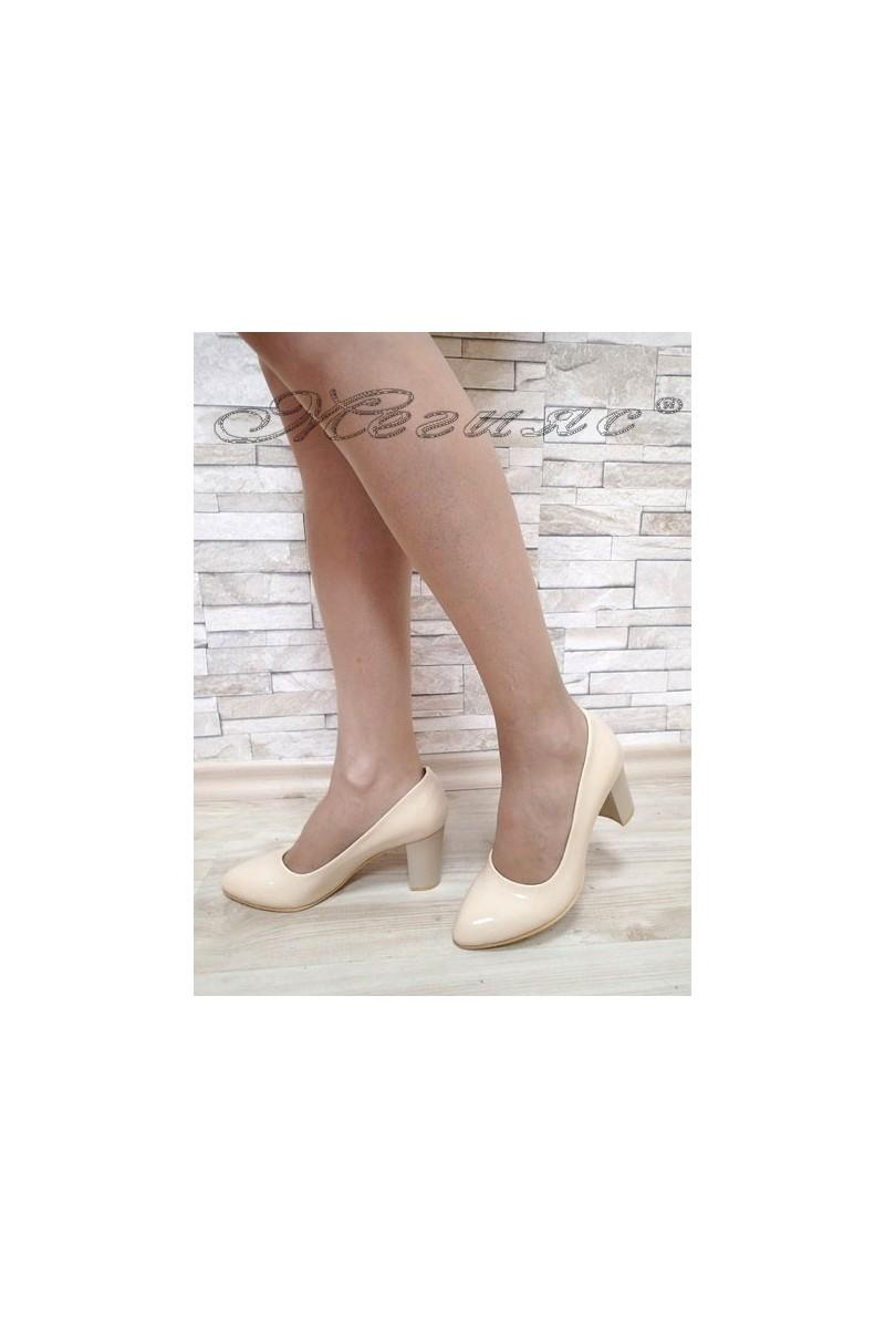 Lady elegant shoes 701 beige pattent
