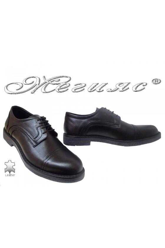 Men elegant shoes FANTAZIA 17602 black leather