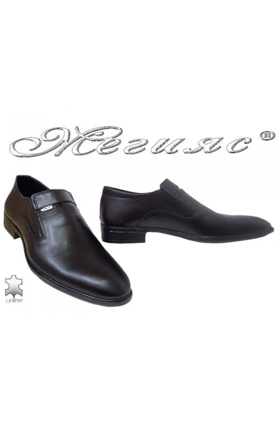 Men elegant shoes FANTAZIA 17505 black leather