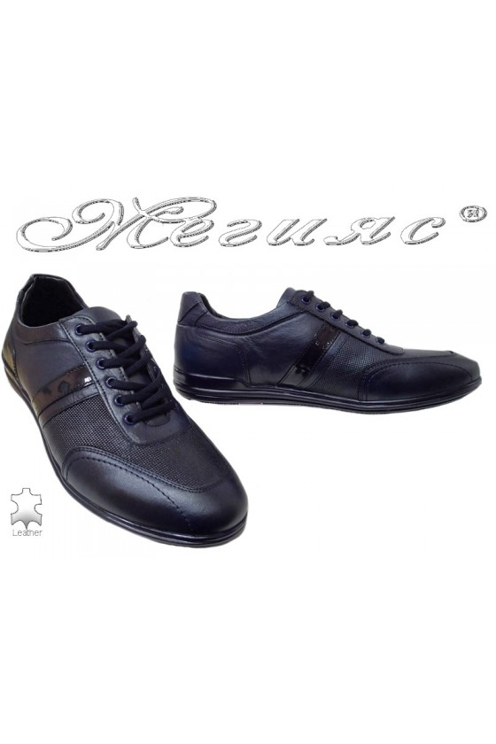 Мъжки обувки сини от естествена кожа
