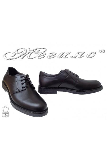 Men elegant shoes FANTAZIA 17600 black leather
