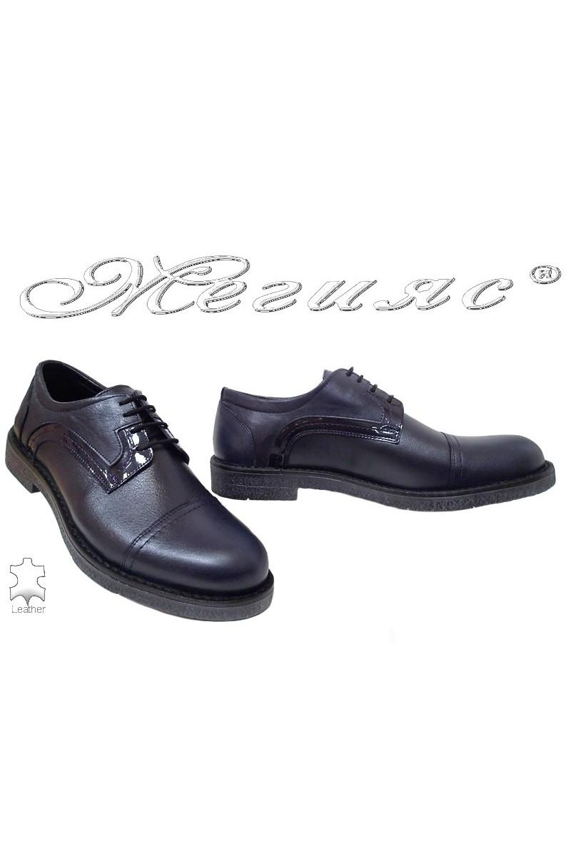 Men elegant shoes FANTAZIA 17602 blue leather