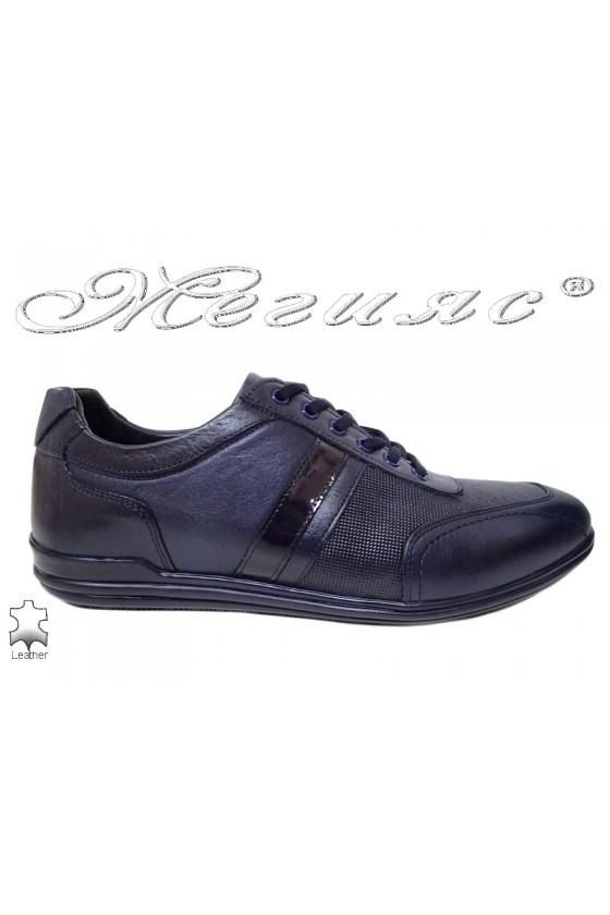 Мъжки обувки от естествена кожа сини Фантазия 17802-189