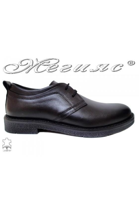 Men elegant shoes FANTAZIA 17603 black leather