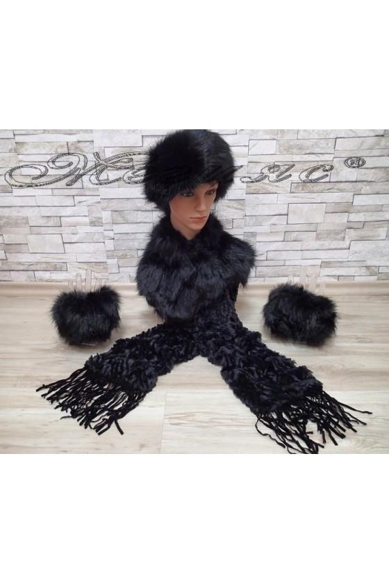 Комплект шал 0631 с шапка 0626 и ръкавели 0625 черни от еко пух