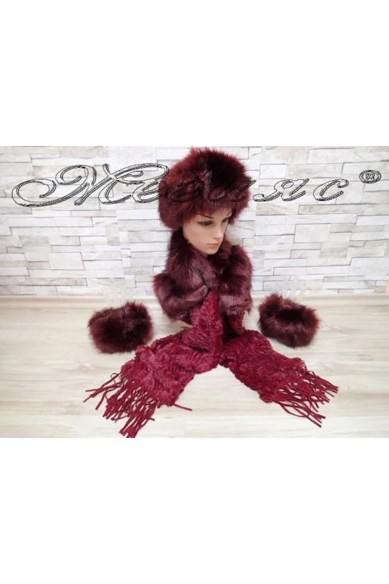 Комплект шал 0631 с шапка 0626 и ръкавели 0625 от еко пух в цвят бордо