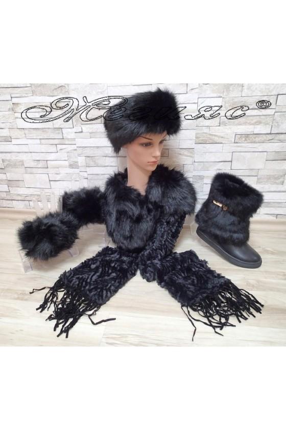 Комлект шал-шапка-ръкавели в черно с боти 2017-101 черни с пух