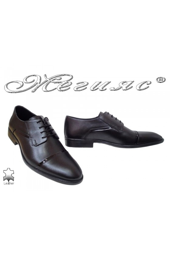 Men elegant shoes FANTAZIA 7003 black leather