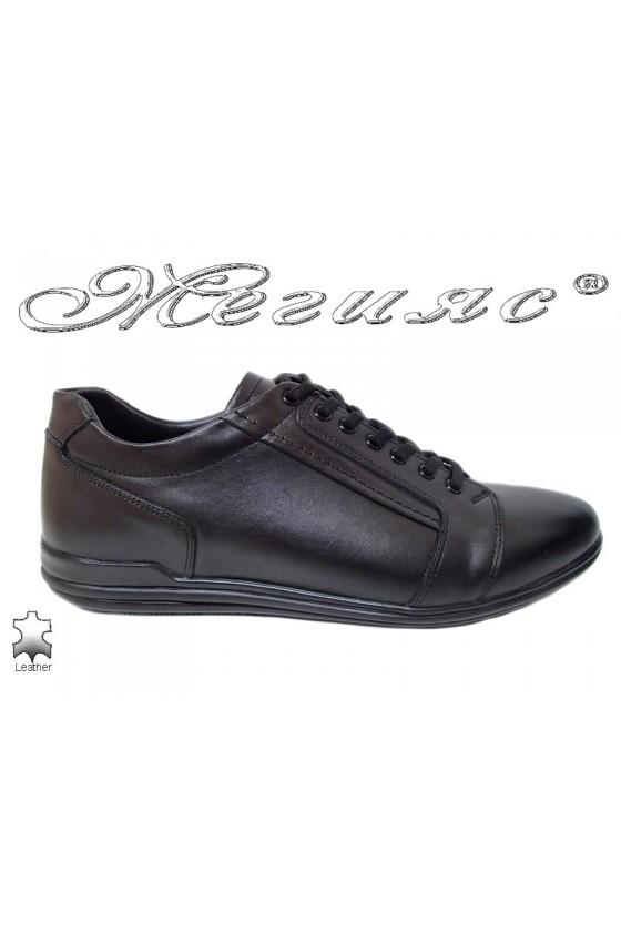 Мъжки обувки от естествена кожа черни Фантазия 17803