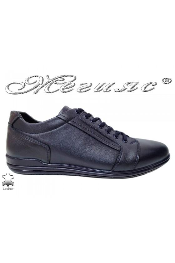 Мъжки обувки от естествена кожа сини  Фантазия 17803