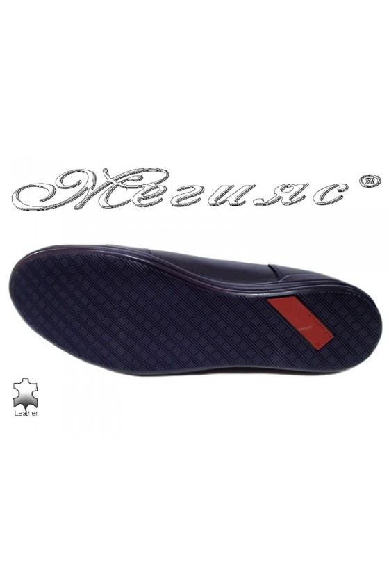 Men sport shoes 17803 blue leather