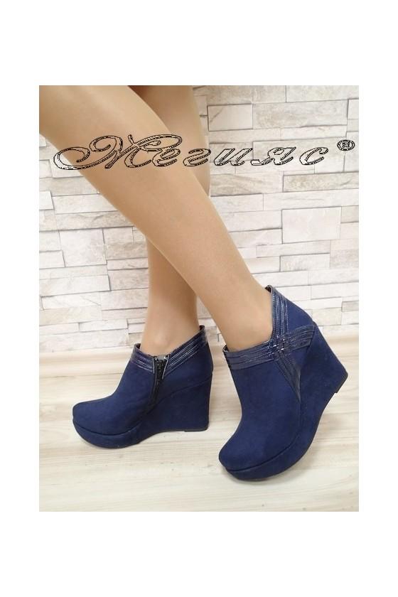 Дамски обувки 492 сини от еко велур на платформа