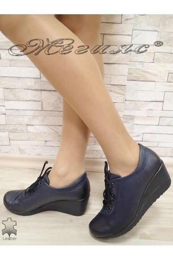 Дамски обувки 057 сини от естествена кожа платформа ежедневни с връзки