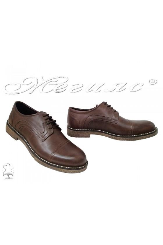 Мъжки обувки Фантазия 17602 кафяви от естествена кожа