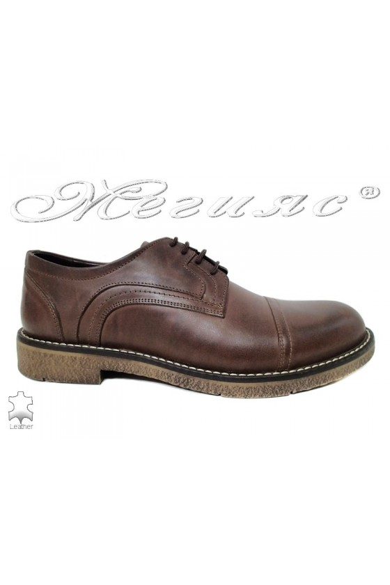 Men's shoes 17602 brown leather