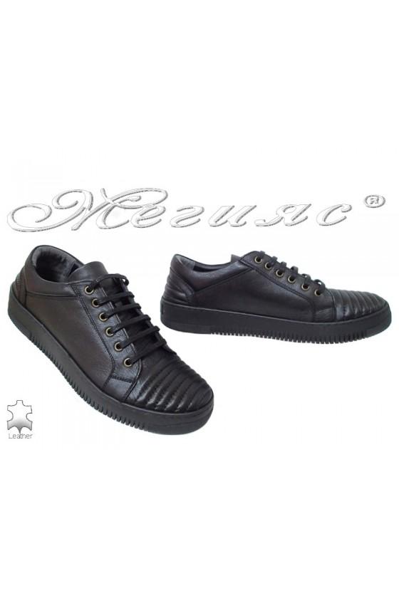 Мъжки обувки черни спортни от естествена кожа