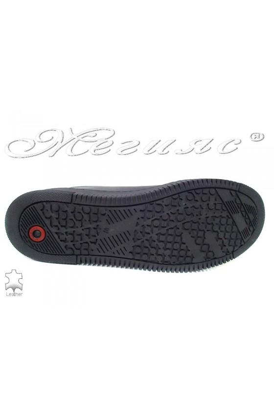 Мъжки обувки черни спортни от естествена кожа 105