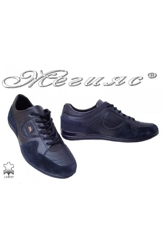 Мъжки спортни обувки Фантазия 17805 сини естествена кожа