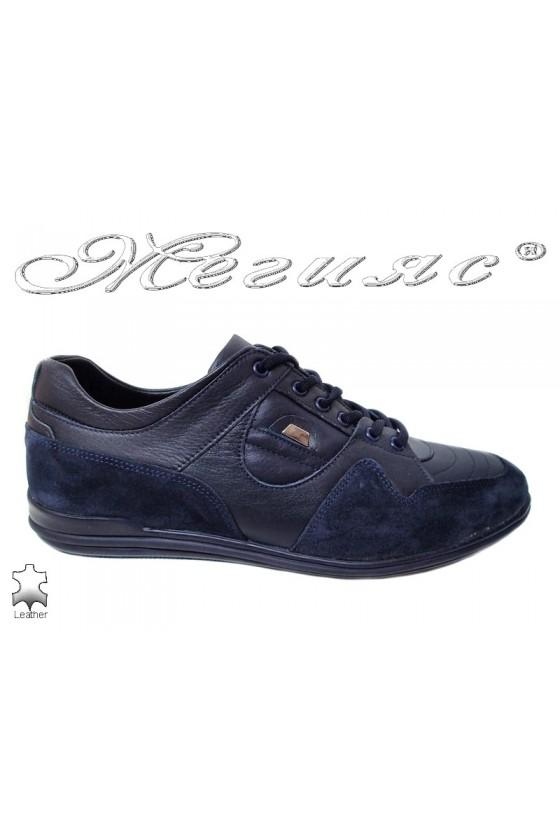 Men sport shoes FANTAZIA 17805 blue leather