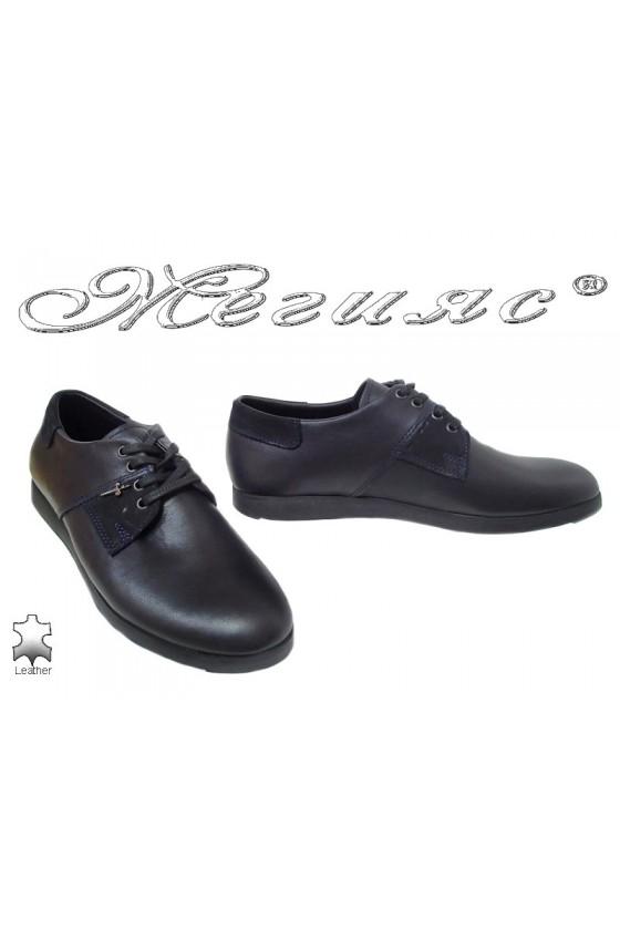 Мъжки обувки Тренд 67-Н сини от естествена кожа