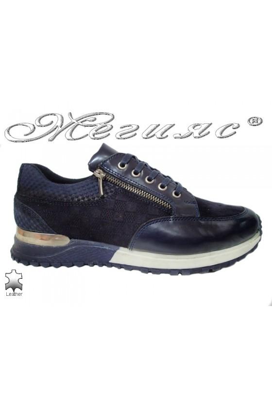 Мъжки спортни обувки 1700 сини естествена кожа