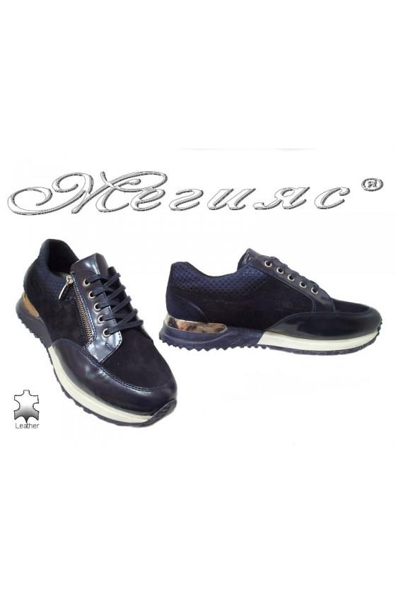 Men sport shoes 1700 blue leather