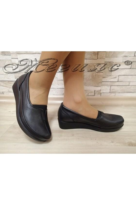 Дамски ортопедични обувки 012 черни мат от естествена кожа