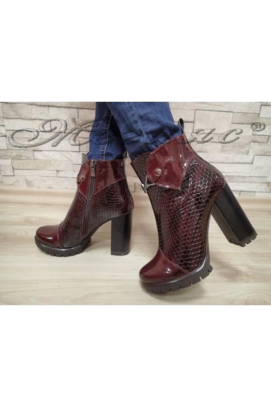 Women elegant boots 662/3691  wine patent