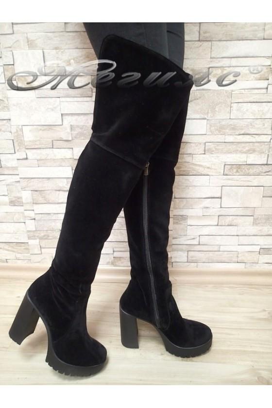 Дамски ботуши 114-14 черни от еко велур тип чизми