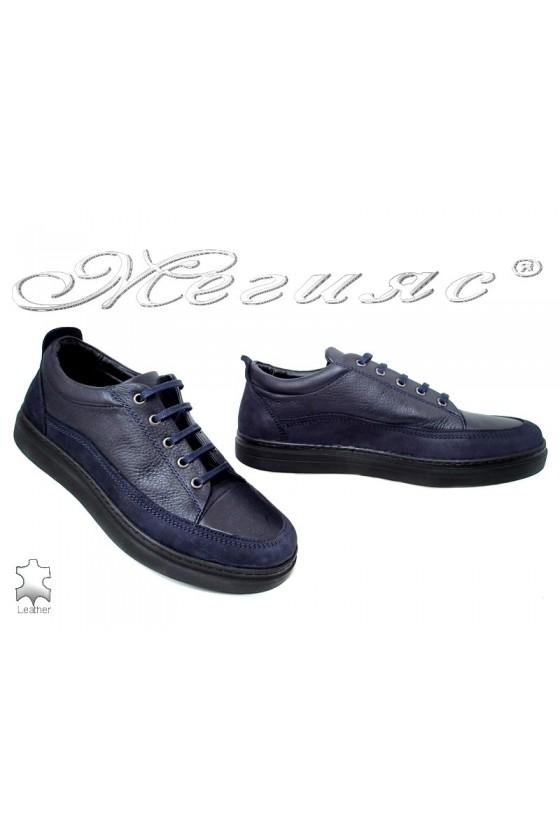Мъжки обувки 110 сини от естествена кожа и велур спортни